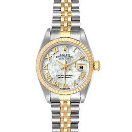 Rolex Datejust Steel Yellow Gold MOP Roman Dial Ladies Watch 79173