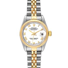 Rolex Datejust 26 Steel Yellow Gold White Roman Dial Mens Watch 79173