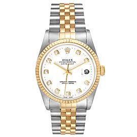 Rolex Datejust Steel Yellow Gold White Diamond Dial Ladies Watch 16233