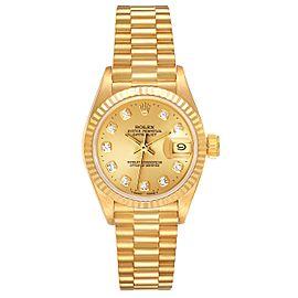 Rolex President Datejust Yellow Gold Diamond Dial Ladies Watch 69178