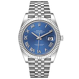 Rolex Datejust 41 Steel White Gold Blue Dial Mens Watch 126334
