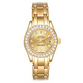 Rolex Pearlmaster Yellow Gold Diamond Ladies Watch 69298