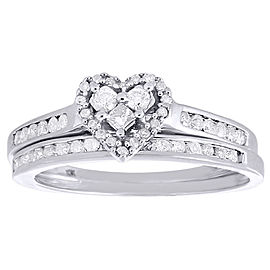 10K White Gold with 0.55ct Diamond Heart Wedding & Engagement Ring Size 7