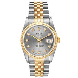 Rolex Datejust Steel 18K Yellow Gold Slate Diamond Dial Mens Watch 16233