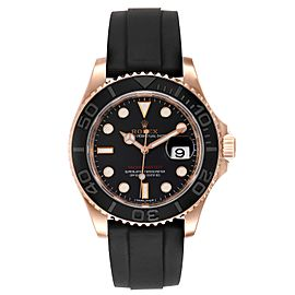 Rolex Yachtmaster 40mm Everose Gold Rubber Strap Mens Watch 116655