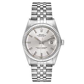 Rolex Datejust Steel White Gold Silver Wide Boy Dial Vintage Mens Watch 1601