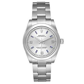 Rolex Midsize 31 Silver Dial Blue Hour Markers Steel Ladies Watch 177200