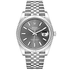 Rolex Datejust 41 Steel White Gold Rhodium Dial Mens Watch 126334
