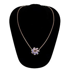 Antique Victorian Enamel Flower Pendant 31 Natural Pearls 14k Gold