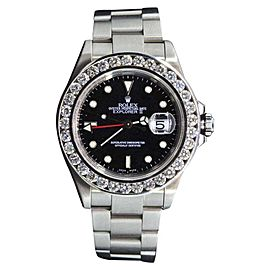 Rolex Explorer II Stainless Steel with Black Dial and 6ct Diamond 40mm Mens Watch