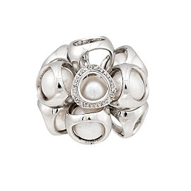 Di Modolo Sterling Silver Diamond & Pearl Triadra Ring