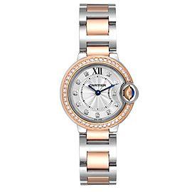 Cartier Ballon Blue Steel Rose Gold Diamond Ladies Watch W3BB0009 Unworn