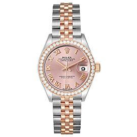 Rolex Datejust 28 Steel Rolesor Everose Gold Diamond Ladies Watch 279381