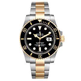 Rolex Submariner Steel Yellow Gold Black Dial Mens Watch 116613