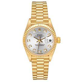 Rolex President Datejust Yellow Gold Silver Diamond Dial Ladies Watch 69178