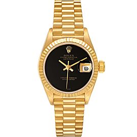 Rolex President Datejust Yellow Gold Onyx Dial Ladies Watch 69178