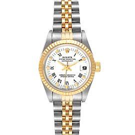 Rolex Datejust Steel Yellow Gold White Roman Dial Ladies Watch 69173