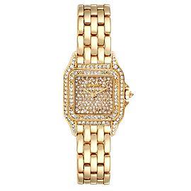 Cartier Panthere Ladies 18k Yellow Gold Pave Diamond Ladies Watch