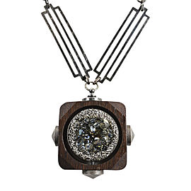 Lanvin Silver Tone Metal Brown Wood Oversized Crystal Pendant Necklace