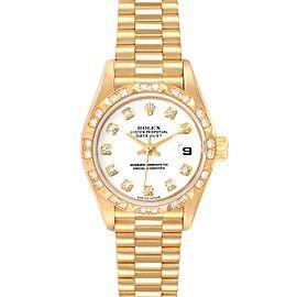 Rolex President Datejust Yellow Gold White Dial Diamond Ladies Watch 79258