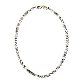 David Yurman 925 Sterling Silver & 14K Yellow Gold Cable Buckle Necklace
