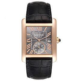Cartier Tank MC Rose Gold Grey Dial Black Strap Mens Watch W5330002