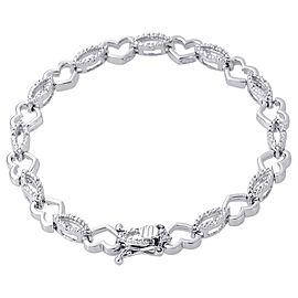 925 Sterling Silver 0.08ct Diamond Oval Link Heart Tennis Bracelet