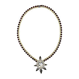 Courtney Lee Collection Silver Tone Metal Red Swarovski Crystal Pendant Necklace