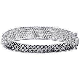 14K White Gold 6.75ct Diamond Domed Bangle Bracelet