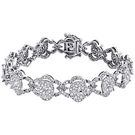 14K White Gold 7.35ct Diamond Link Statement Bracelet