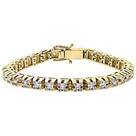 10K Yellow Gold 3.85ct Diamond Raised 3D Link Bracelet