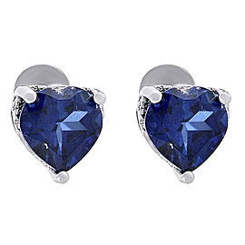 .925 Sterling Silver 2ctw Lab Created Blue Sapphire Heart Stud Earrings