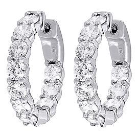 14K White Gold with 4.00ct Diamond Hoop Earrings