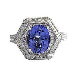 14K White Gold with 3.50ct Tanzanite & 1.85ct Diamond Ring Size 7.25