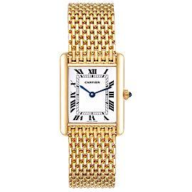 Cartier Tank Classic Paris Yellow Gold White Roman Dial Ladies Watch
