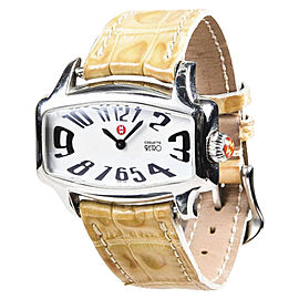 "Michele ""Coquette Retro"" 71 880 Stainless Steel Beige Alligator Strap 35mm Womens Watch"