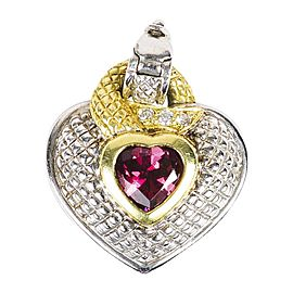 Judith Ripka 925 Sterling Silver 18K Yellow Gold Pink Tourmaline Heart Pendant