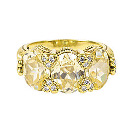 Judith Ripka 18K Yellow Gold with Lemon Quartz and 0.14ct Diamond Ring Size 6