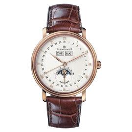 Blancpain Villeret 6263-3642-55 18K Rose Gold & Leather Full Calendar 38mm Mens Watch