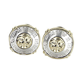 14K Yellow and White Gold Vintage Celestial Moon Star Zodiac Earrings