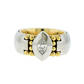 Georg Jensen Platinum and 18K Yellow Gold 0.20 Ct Diamond Ring Size 5.5