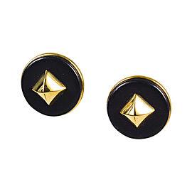 Hermes Black Gold Tone Metal & Leather Earrings