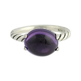 David Yurman 925 Sterling Silver & Amethyst Cabochon Ring