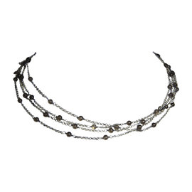 David Yurman Smoky Quartz 925 Sterling Silver Bead Chain Necklace