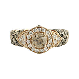 Le Vian 14K Rose Gold Chocolate & Vanilla 1.20ctw Diamond Ring Size 7