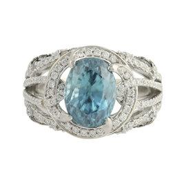 Le Vian 18K White Gold 7.13ct. Blue Zircon & 1.16ct. Diamond Cocktail Ring Size 7