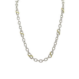 Judith Ripka 925 Sterling Silver & Gold Plated Cubic Zirconia Necklace