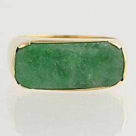 18K Yellow Gold Jadeite, Emerald, Diamond Ring Size 10