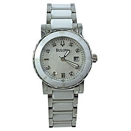 Bulova 98P121 Stainless Steel White Ceramic Mother of Pearl Dial 30mm Womens Watch