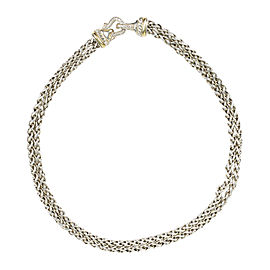 David Yurman 925 Sterling Silver & 18K Yellow Gold with Diamond Cable Buckle Link Necklace